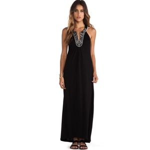 Soft Joie Embroidered High Neck Black Maxi Dress